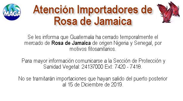 Atención Importadores de Rosa de Jamaica