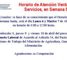 Horario de Atención en Ventanilla de Servicios Durante la Semana Santa