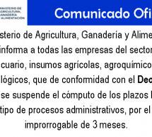 Suspensión de Plazos Legales  en Procesos Administrativos por el Plazo Improrrogable de 3 Meses