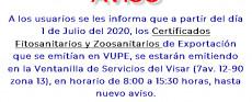 Emisión de Certificados Fitosanitarios y Zoosanitarios de Exportación