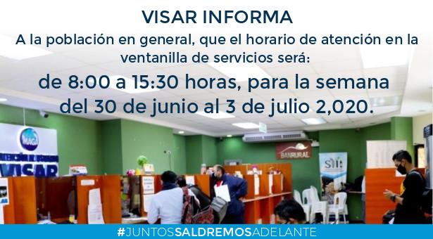Horario de Atención en Ventanilla de Servicios para la Semana del 30 de Junio al 3 de Julio de 2020