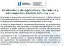El Ministerio de Agricultura, Ganadería y Alimentación (MAGA) informa que: