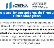 Restricción para Importación de Tilapia