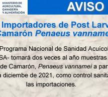 Aviso para Importadores de Post Larva de Camarón Penaeus vannamei
