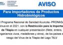 Aviso para Importadores de Productos Hidrobiológicos