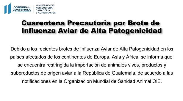 Restricción Temporal para Importación de Animales Vivos, Productos y Subproductos de Origen Aviar