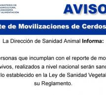 Reporte de Movilizaciones de Cerdos Vivos